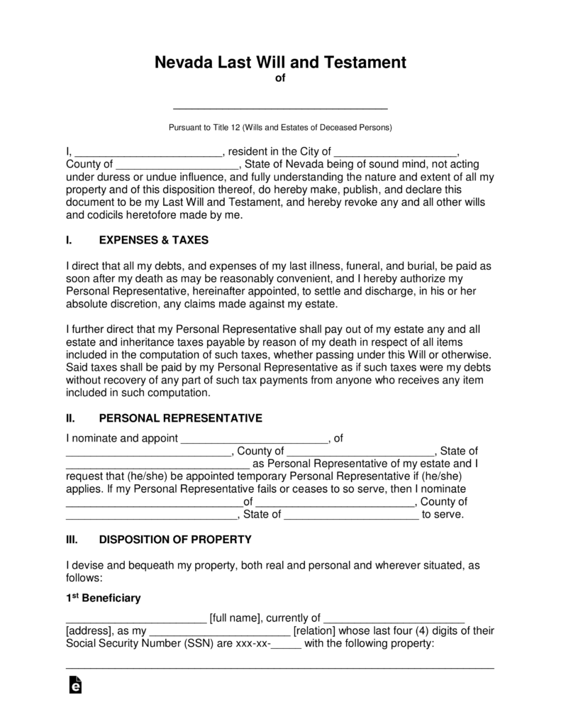 Free Nevada Last Will And Testament Template PDF Word