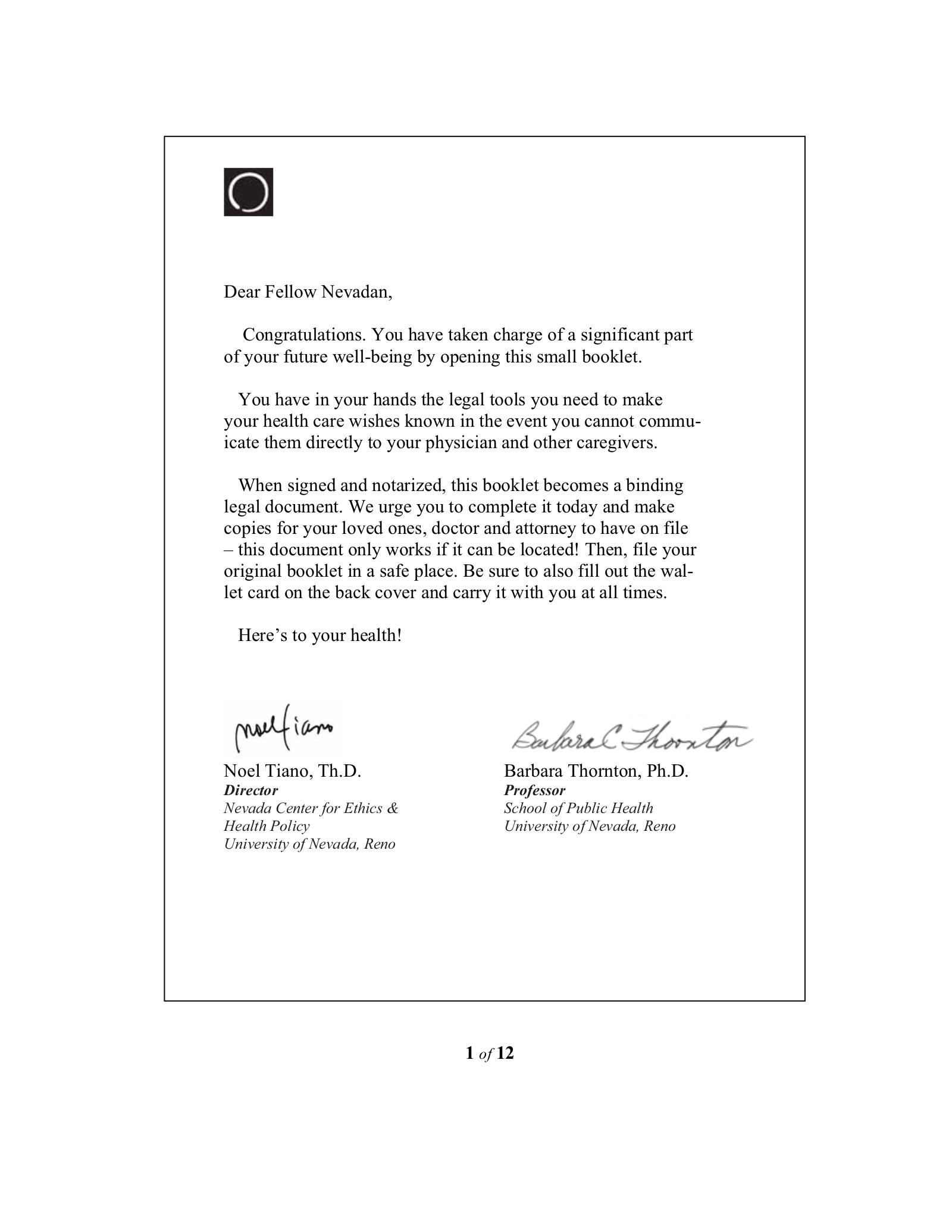 Free Nevada Living Will Form PDF EForms