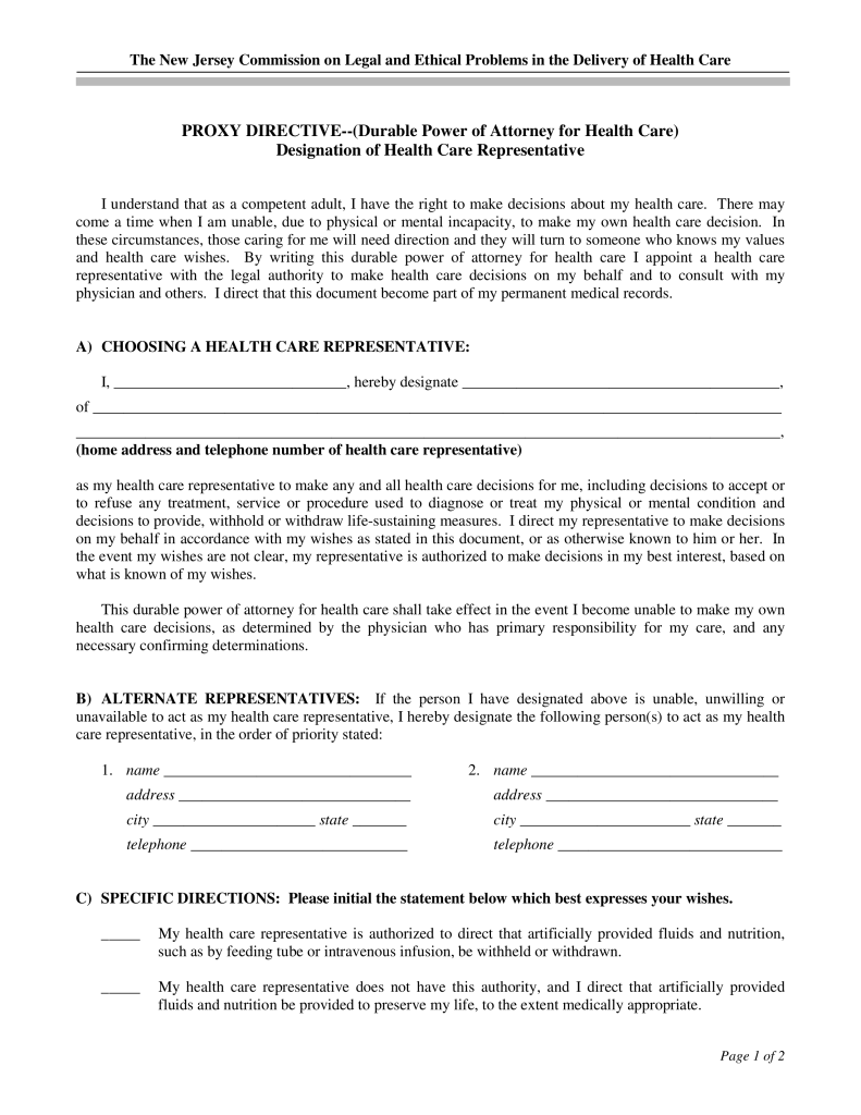 Free New Jersey Medical Power Of Attorney Form Word