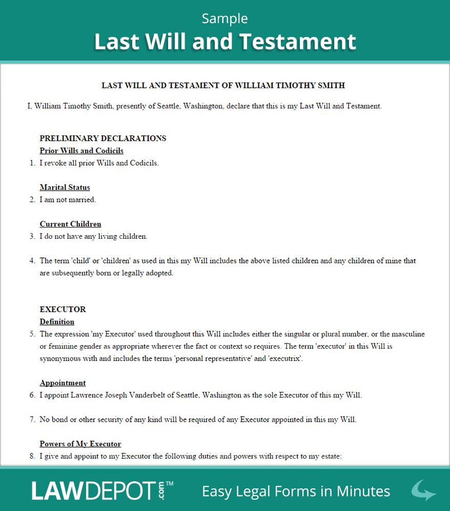 Free North Carolina Last Will And Testament Template Pdf