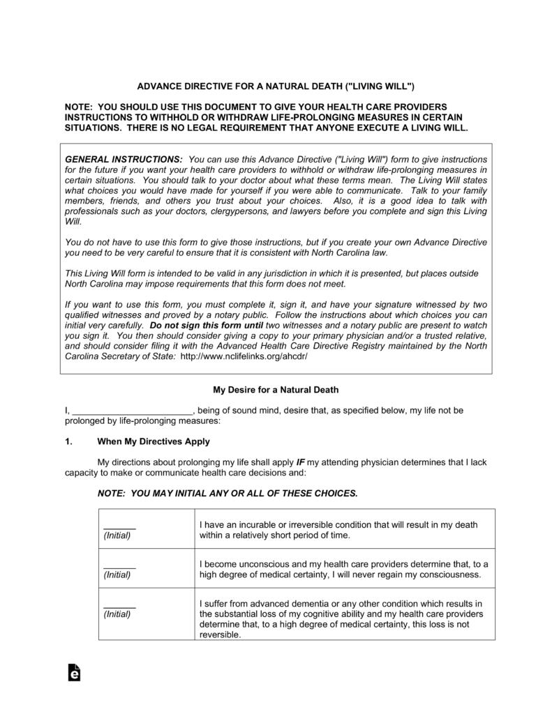 Free North Carolina Living Will Advance Directive PDF