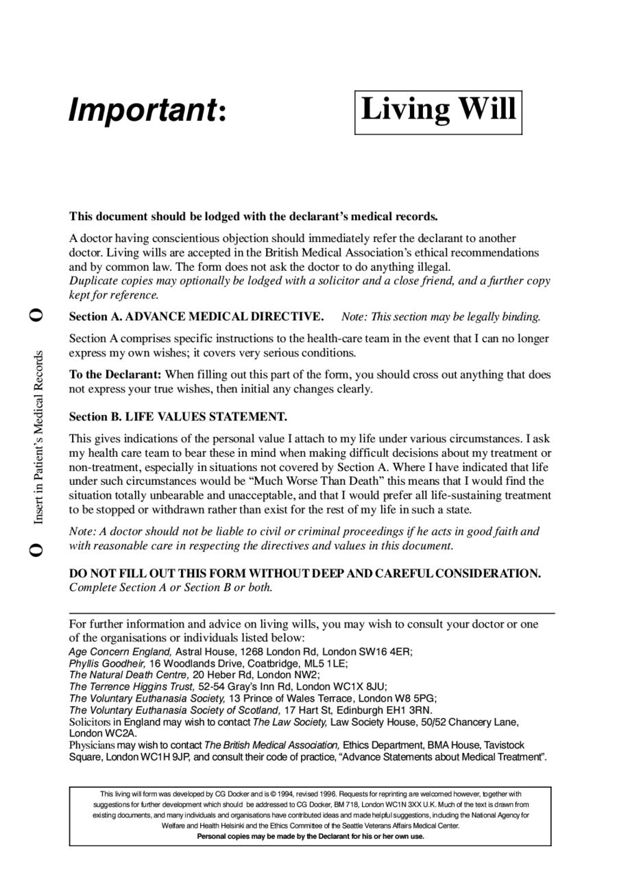 Free Online Printable Living Wills Free Printable