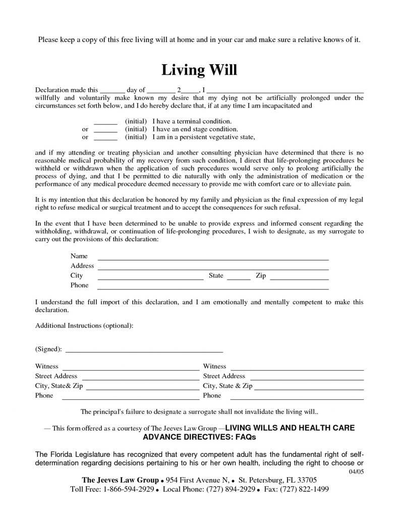 Free Printable Living Will California TUTORE ORG
