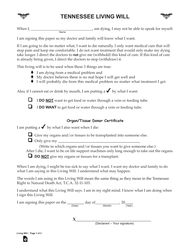 Free Printable Living Will Form Tennessee Ten Things You