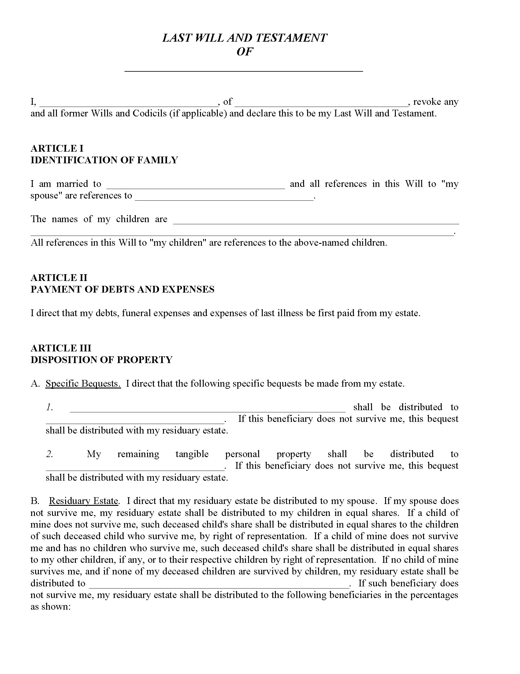 Free Printable Wills Just Fill In The Blanks Blank Wills