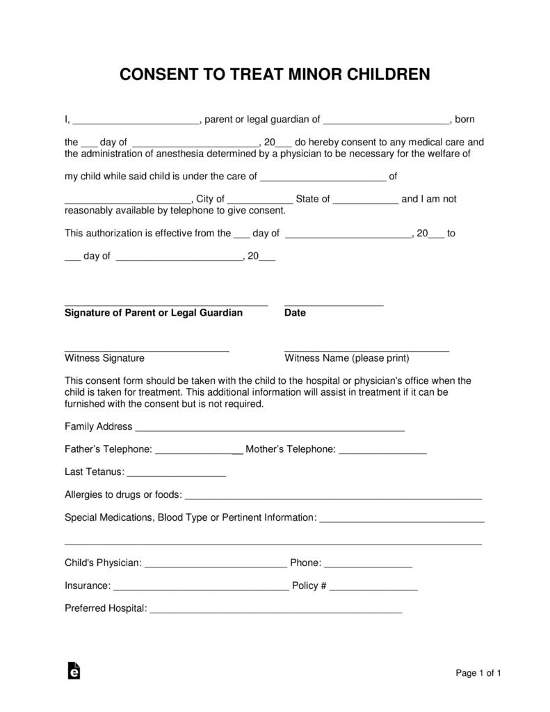 Grandparents Medical Consent Form Minor Child