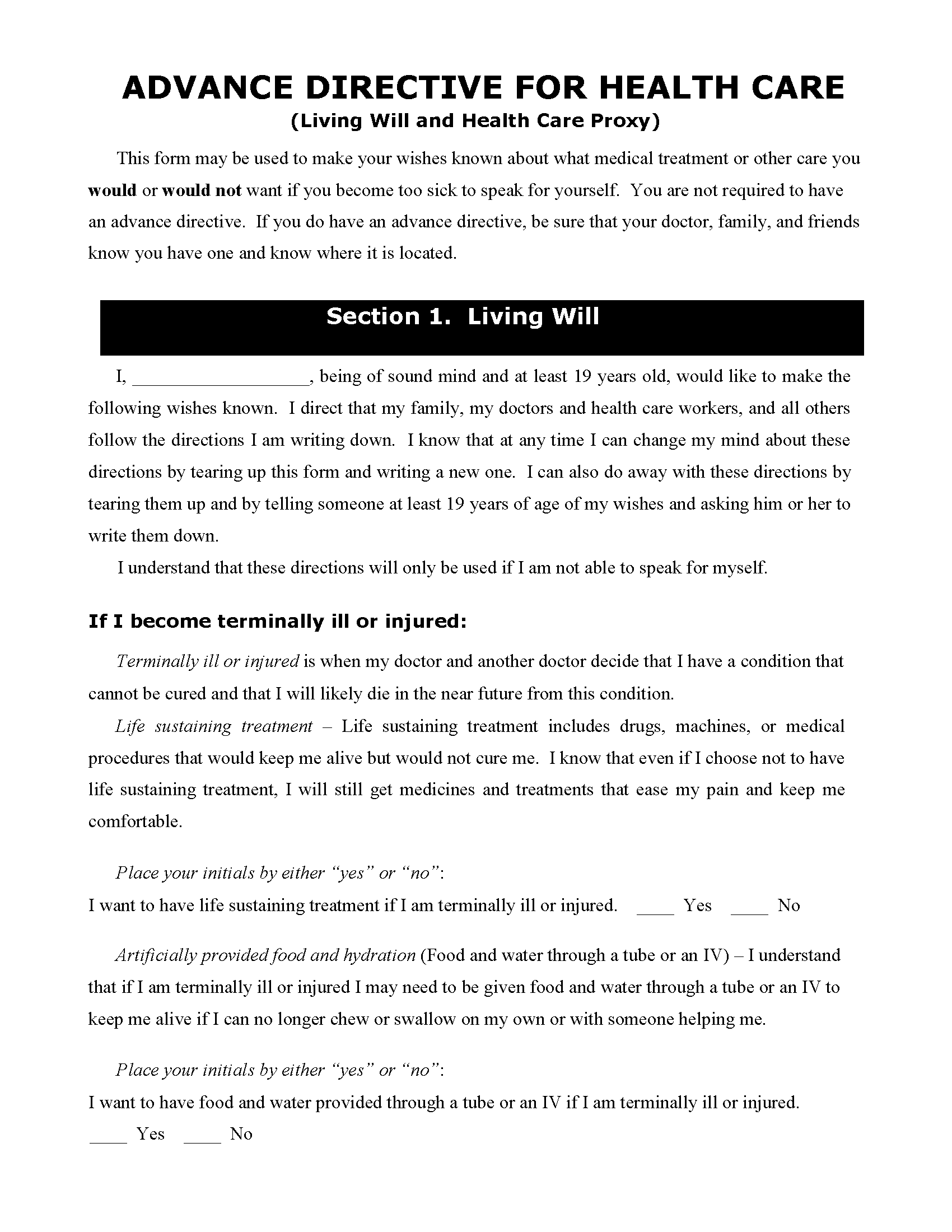 Hawaii Living Will Form Fillable PDF Free Printable