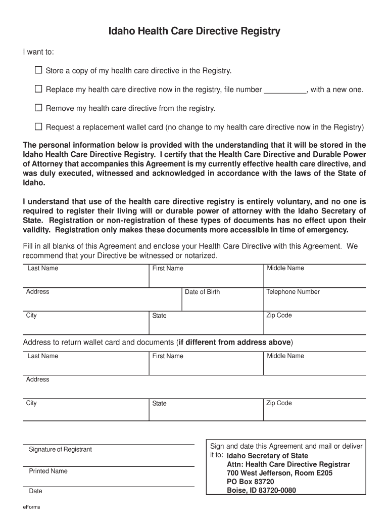 ID Health Care Directive Registry 2019 Fill And Sign
