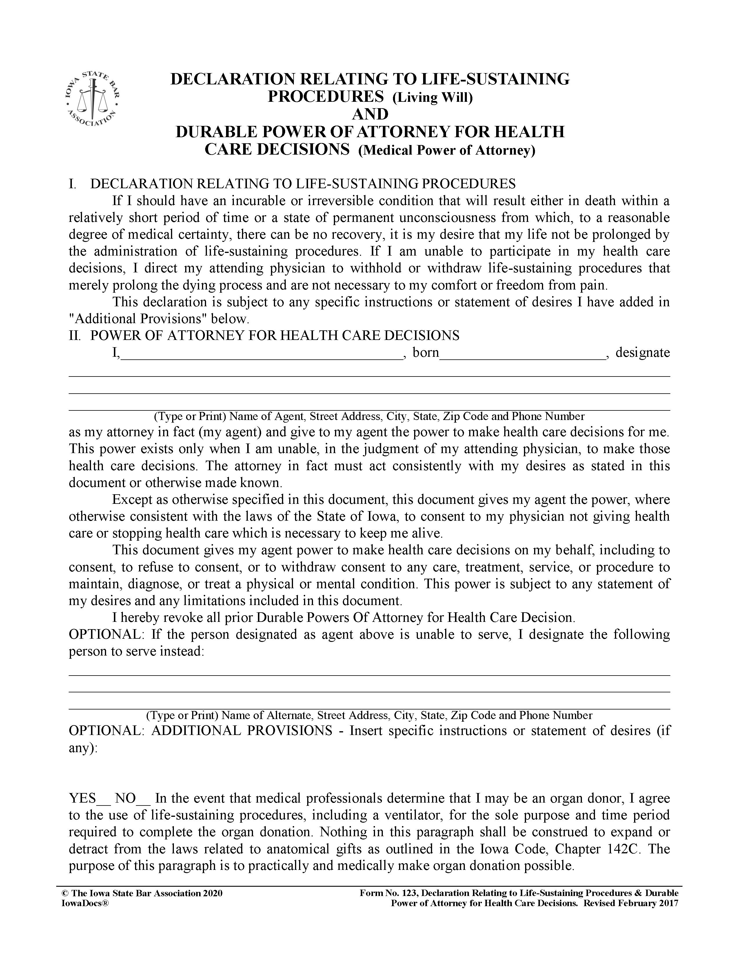 Iowa Living Will Form Fillable PDF Free Printable