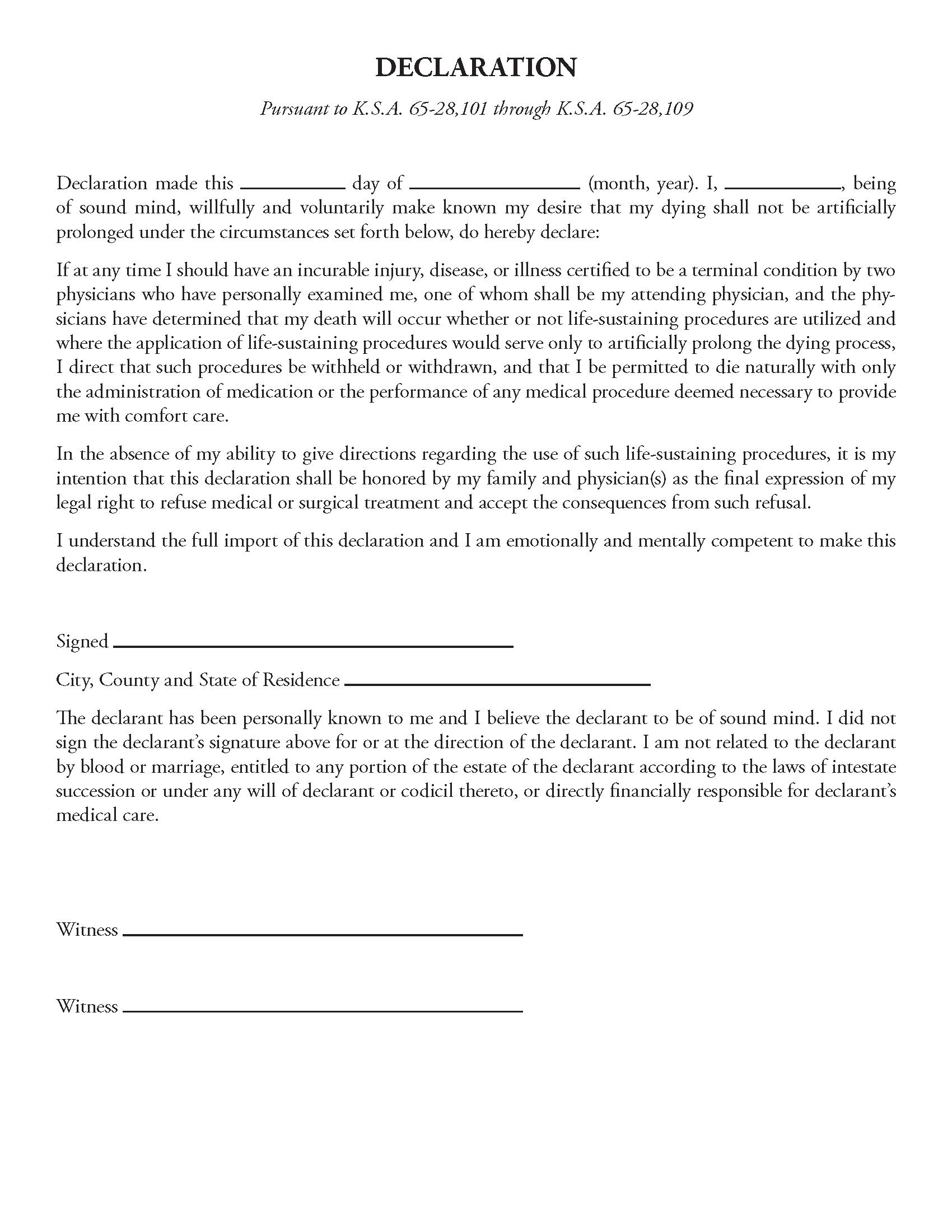 Kansas Living Will Form Fillable PDF Free Printable
