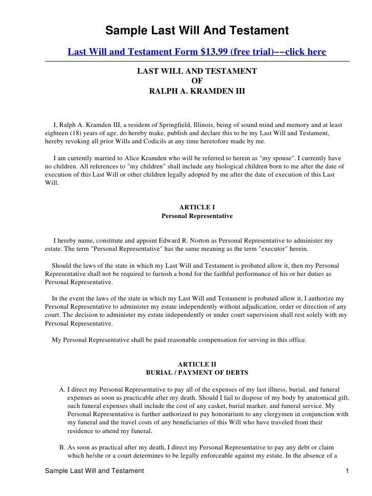 Last Will And Testament Template Form Massachusetts Last
