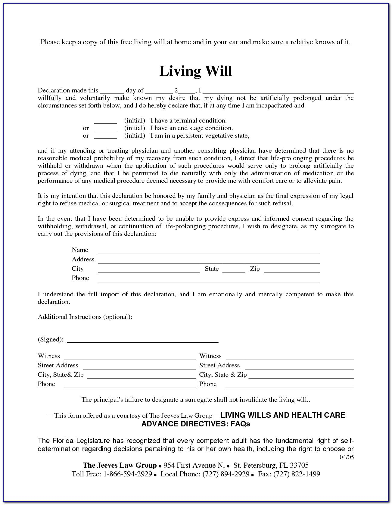 Living Will And Testament Form Free