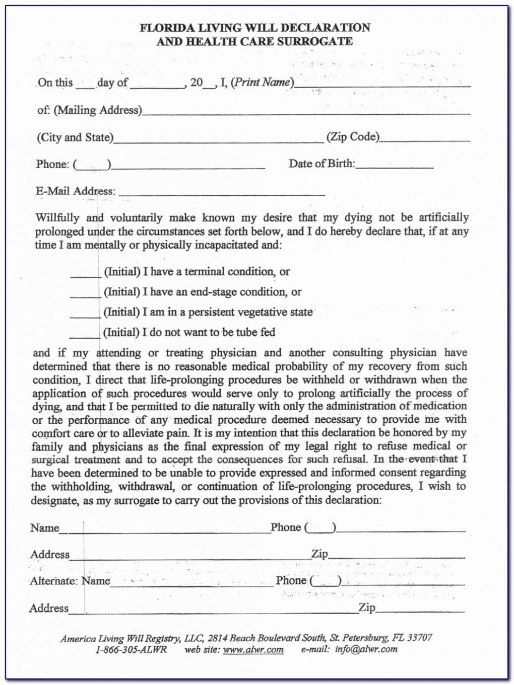 Living Will Declaration Form Florida