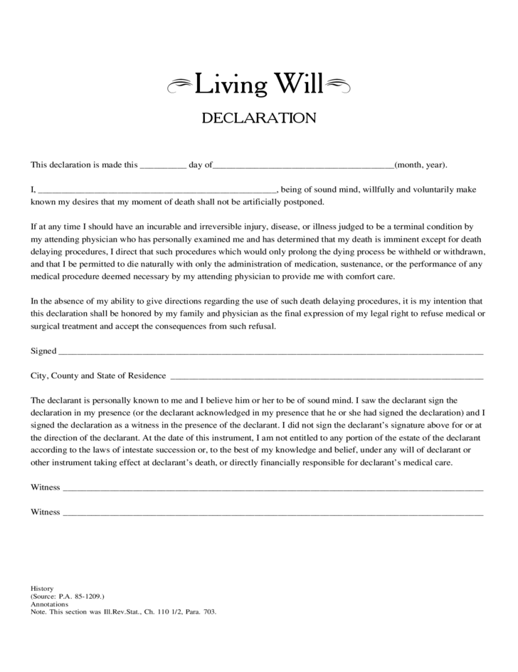 Living Will Declaration Free Download