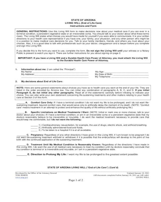 Living Will Form Arizona Edit Fill Sign Online