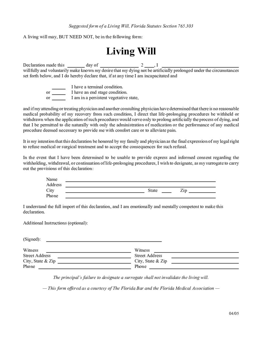 Living Will Forms Edit Fill Sign Online Handypdf
