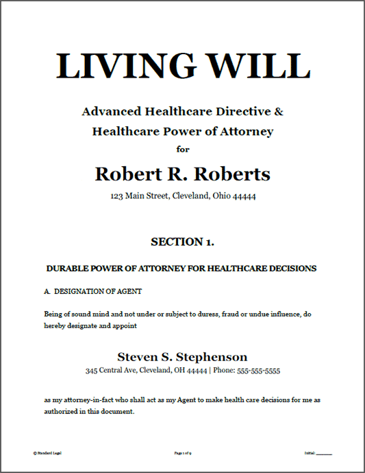 Living Will Healthcare Legal Forms Software Standard Legal