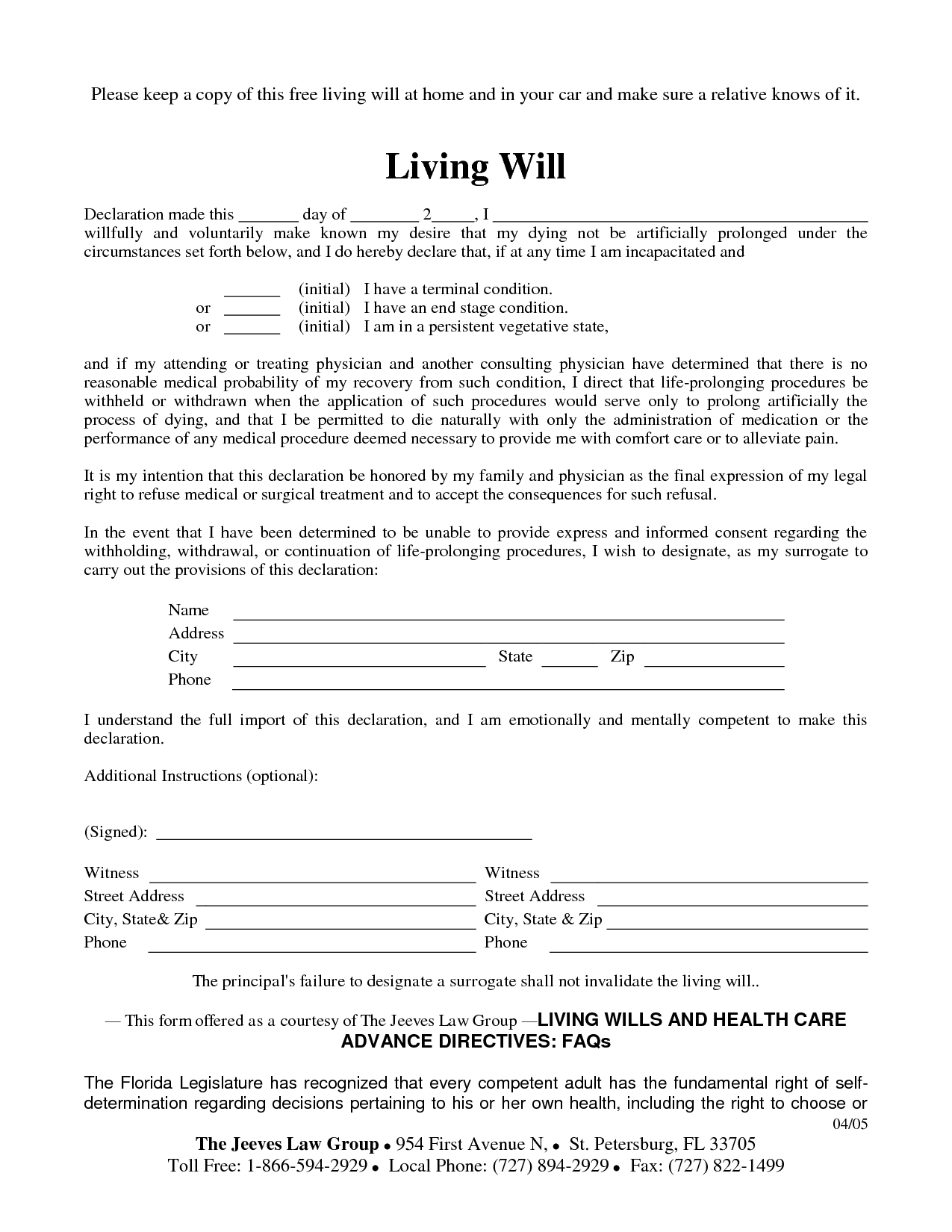 Living Will Sample Free Printable Documents