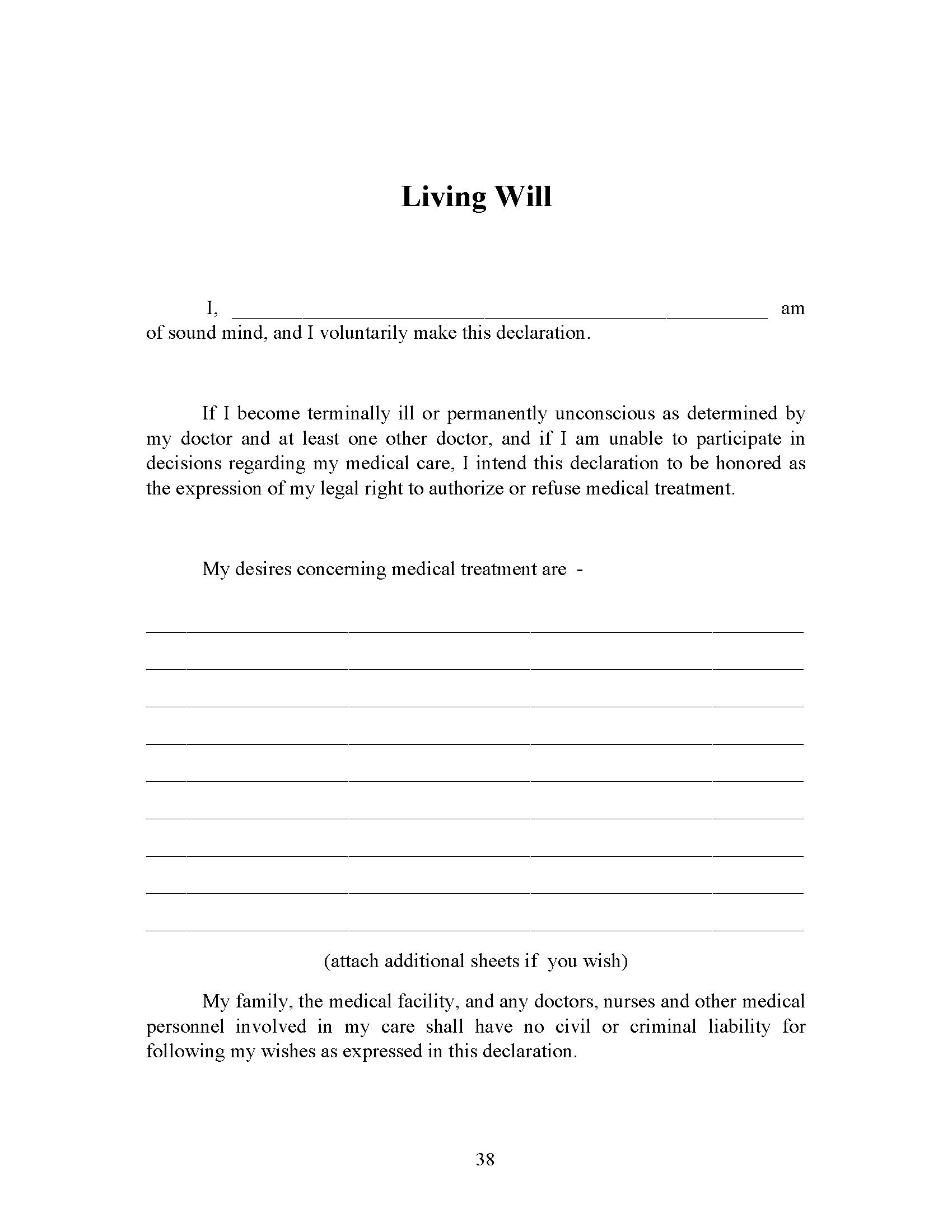 Michigan Living Will Form Fillable PDF Free Printable