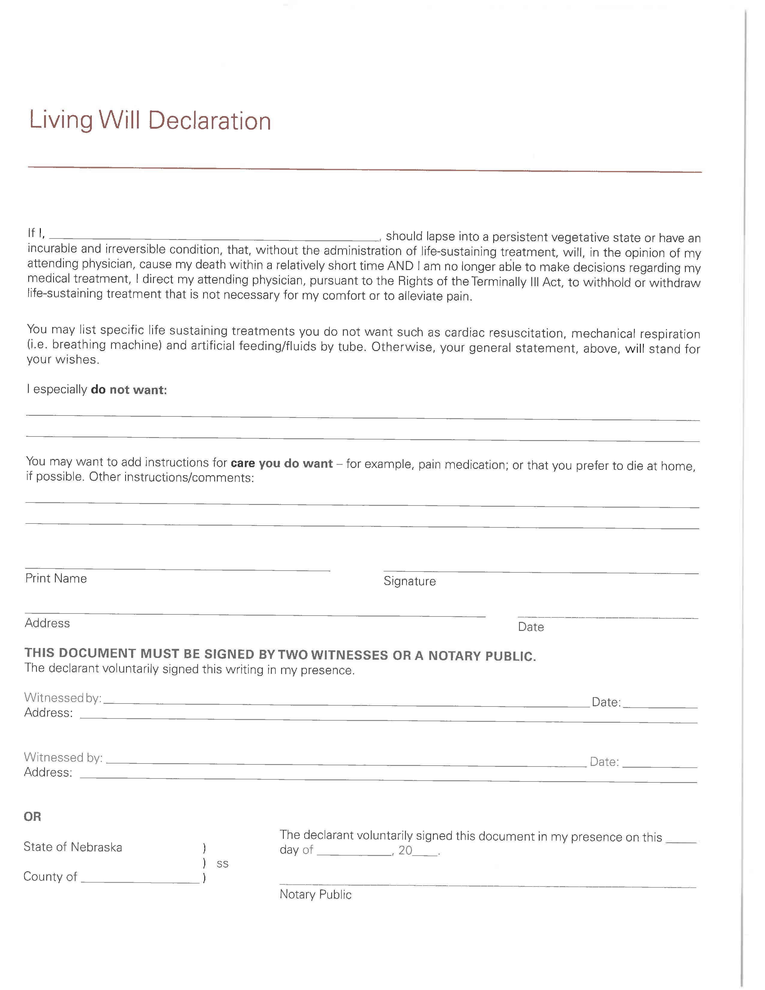 Nebraska Living Will Form Fillable PDF Free Printable