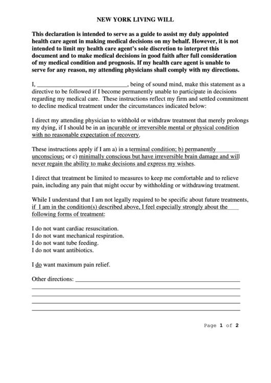 New York Living Will Printable Pdf Download