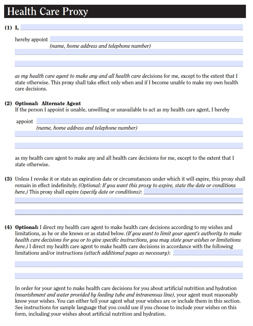 New York Medical Power Of Attorney Form Health Care