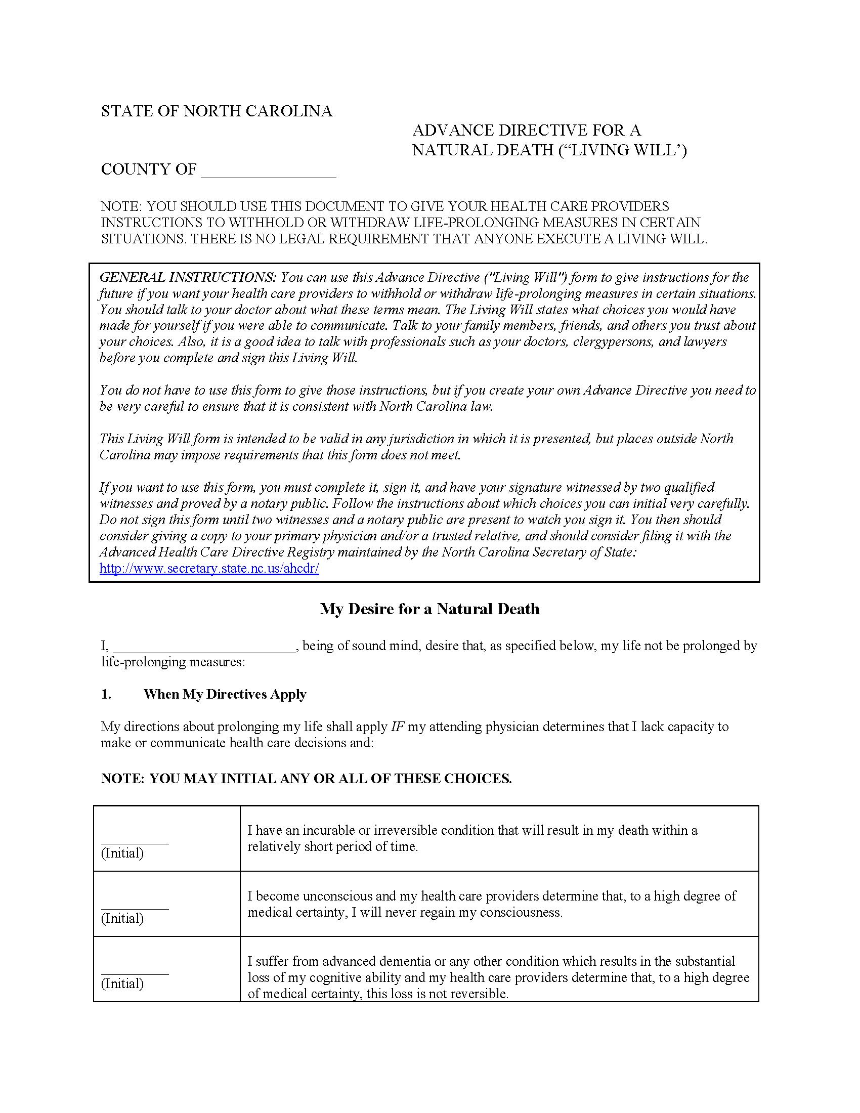 North Carolina Living Will Form Fillable PDF Free