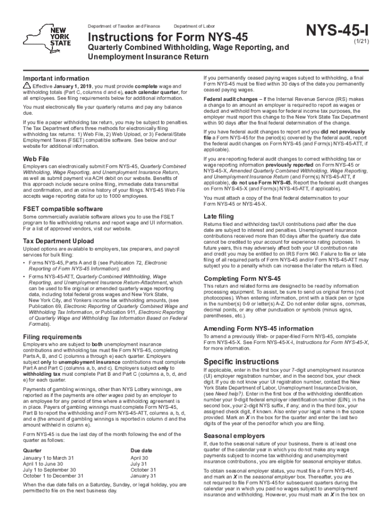 NY NYS 45 I 2021 Fill Out Tax Template Online US Legal
