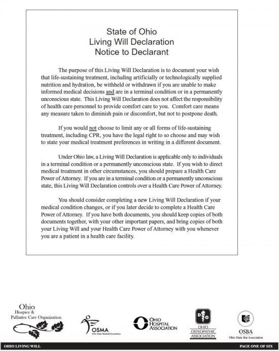 Ohio Living Will Declaration Form Living Will Forms