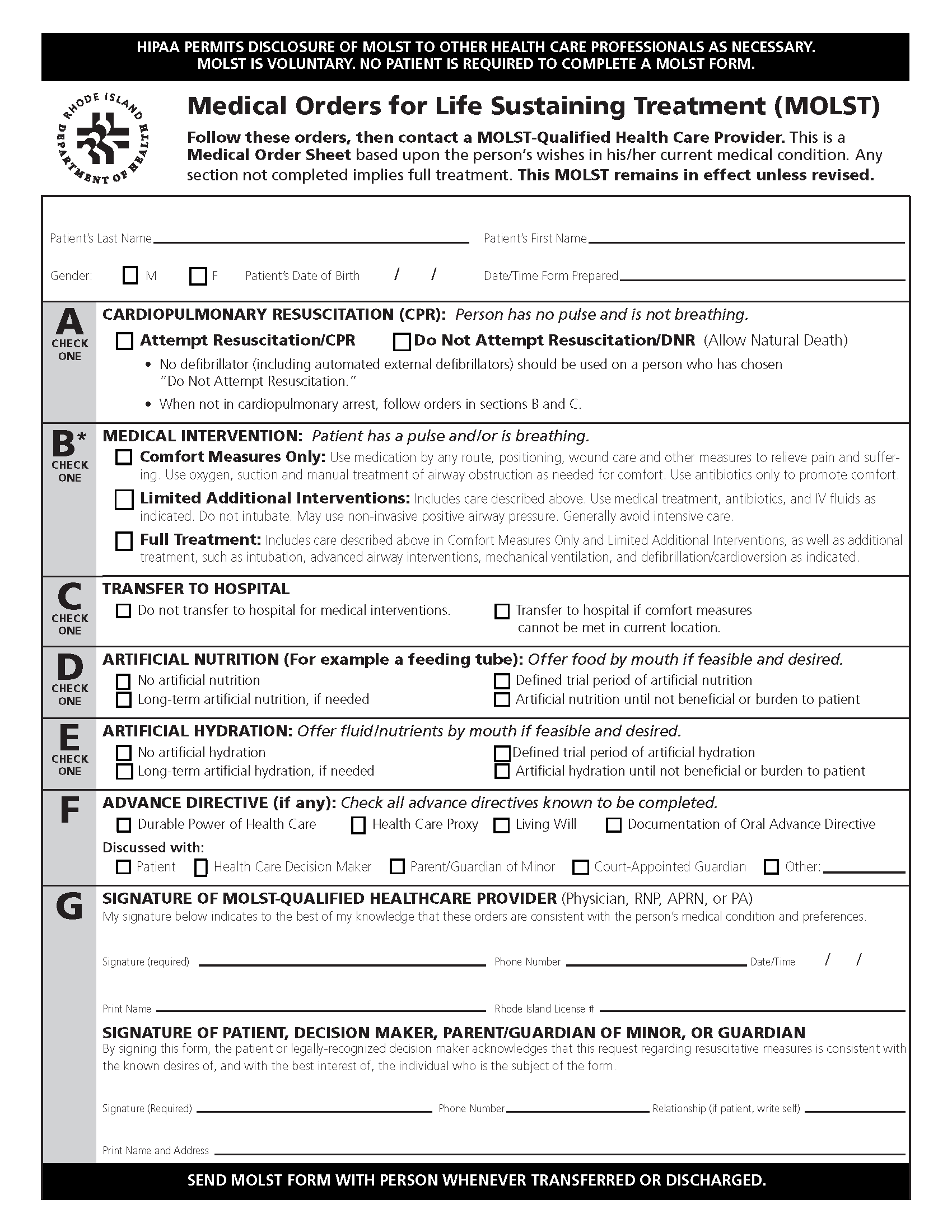 Rhode Island Living Will Form Free Printable Legal Forms