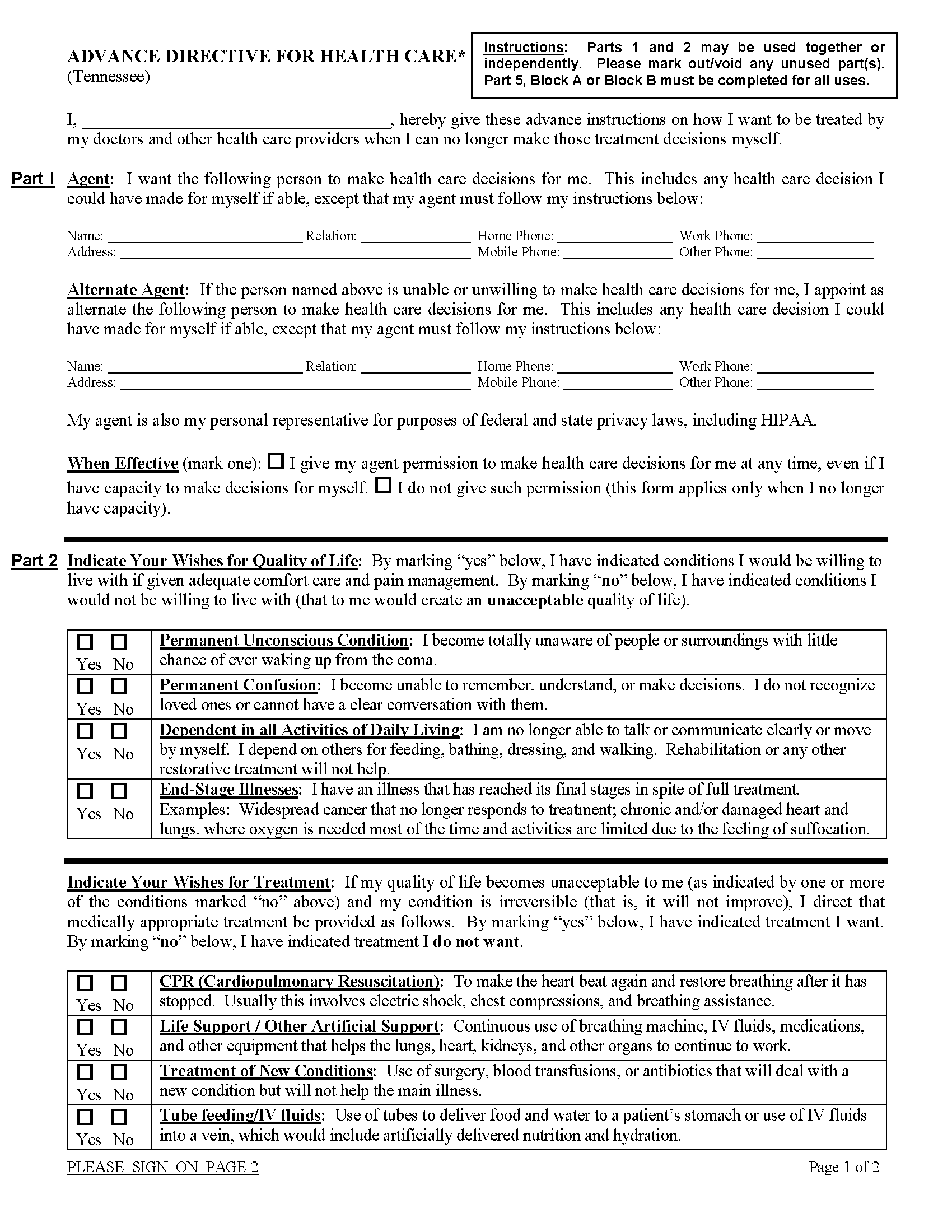 Tennessee Living Will Form Free Printable Legal Forms