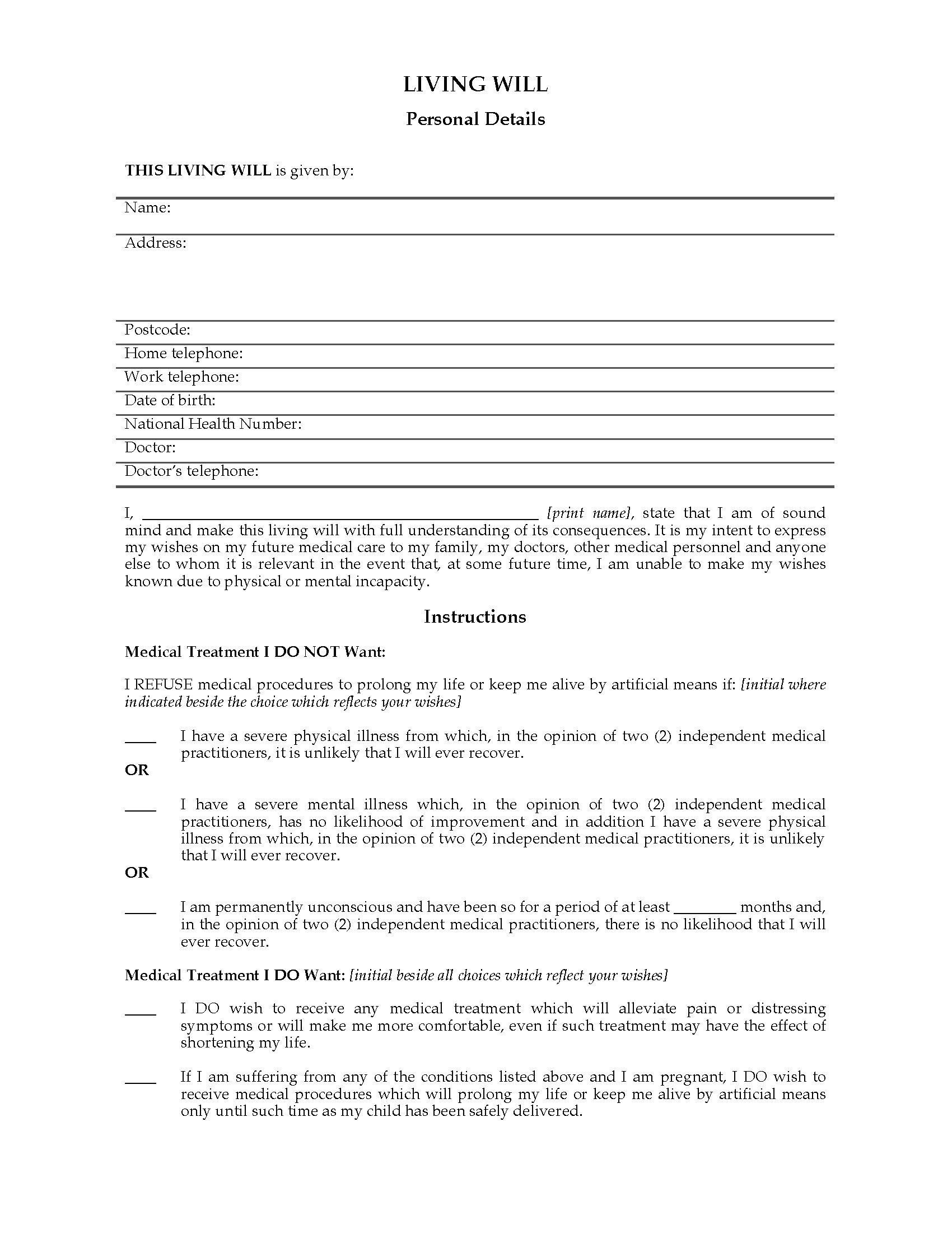 UK Living Will Legal Forms And Business Templates