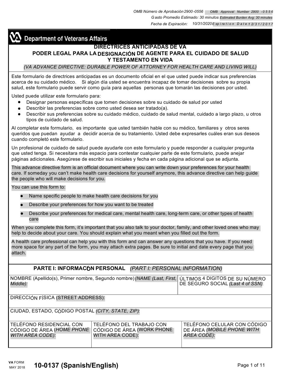 VA Form 10 0137 Download Fillable PDF Or Fill Online VA