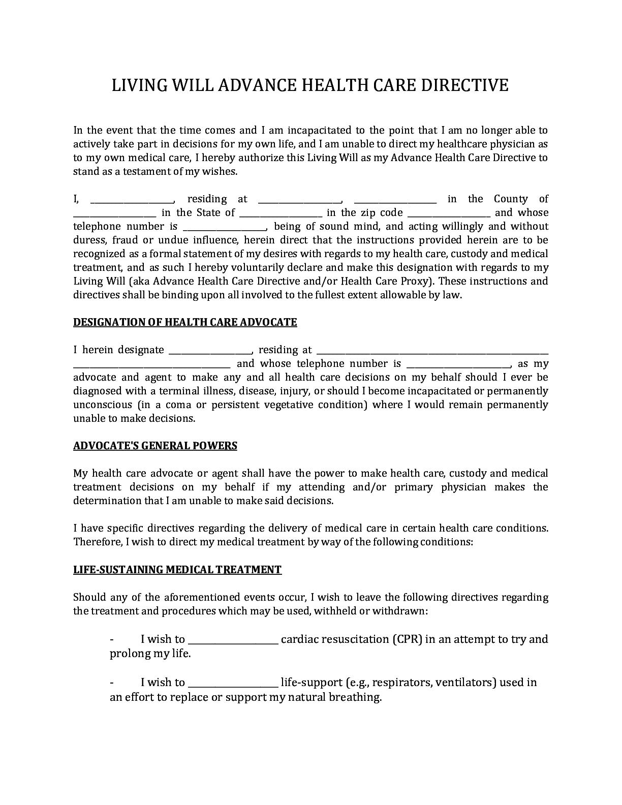 Virginia Living Will Form Fillable Pdf Template