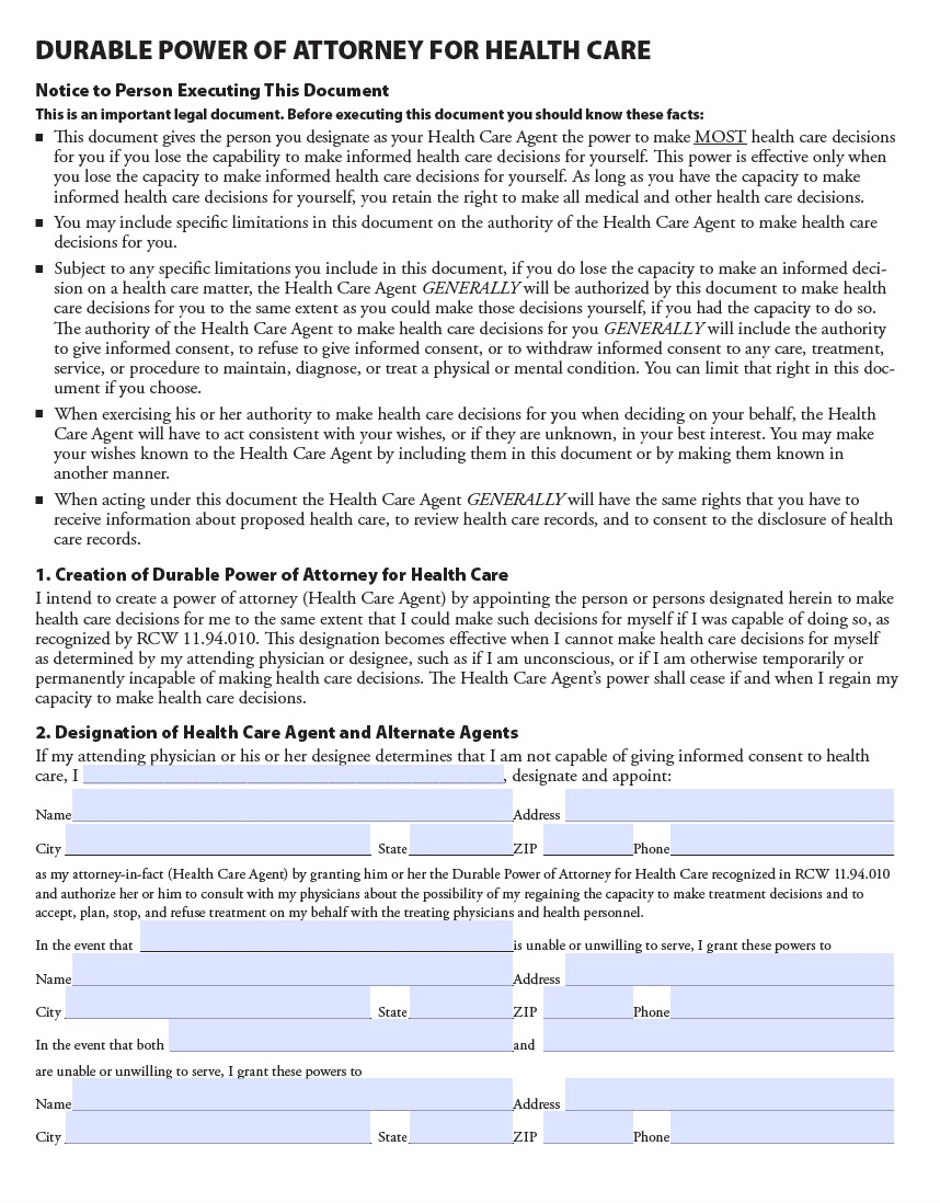 Washington Medical Power Of Attorney Form Living Will